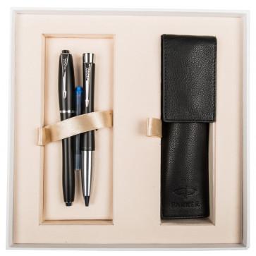 Set stilou + pix + etui, negru mat, cu accesorii cromate, PARKER Urban