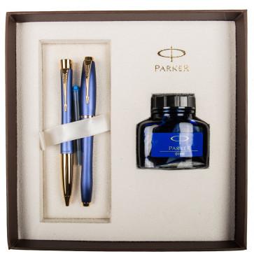Set stilou + pix + calimara, albastru metalizat, cu accesorii aurii, Penman Blue, PARKER Urban Premium