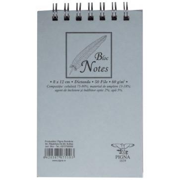Bloc notes cu spira, A7, 50 file, dictando, PIGNA Basic