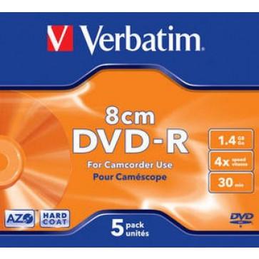 DVD-R, 1.4GB, 4X, format mini, carcasa jewel, VERBATIM Matt Silver