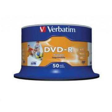 DVD-R, 4.7GB, 16X, 50 buc/bulk, printabil, VERBATIM Wide Photo Printable - no ID