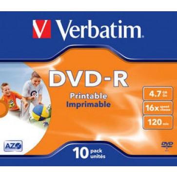 DVD-R, 4.7GB, 16X, carcasa jewel, printabil, VERBATIM Wide Photo Printable - ID Branded