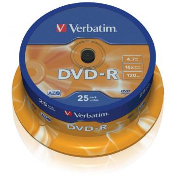 DVD-R, 4.7GB, 16X, 25 buc/bulk, VERBATIM Matt Silver