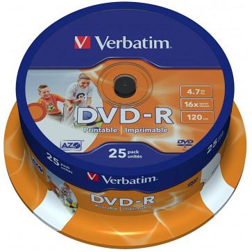 DVD-R, 4.7GB, 16X, 25 buc/spindle, printabil, VERBATIM Wide Photo Printable - ID Branded