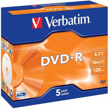 DVD-R, 4.7GB, 16X, 5 buc./cutie, VERBATIM Matt Silver Jewel Case