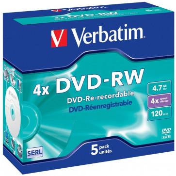 DVD-RW, 4.7GB, 4X, 5 buc./cutie, VERBATIM Matt Silver Jewel Case