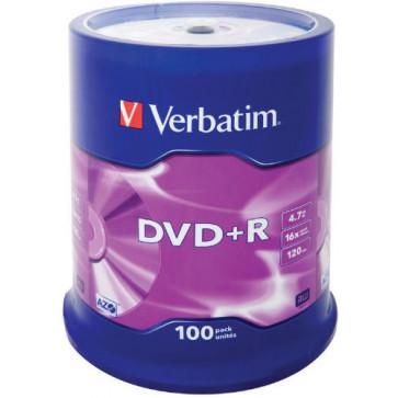 DVD+R, 4.7GB, 16X, 100 buc./spindle, VERBATIM Matt Silver