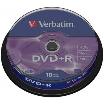 DVD+R, 4.7GB, 16X, 10 buc/spindle, VERBATIM Matt Silver