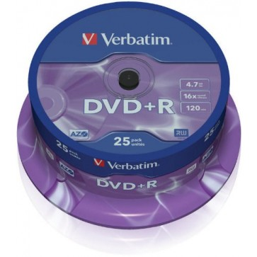 DVD+R, 4.7GB, 16X, 25 buc/spindle, VERBATIM Matt Silver