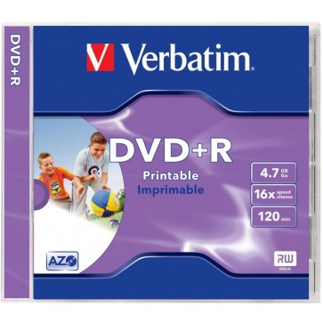 DVD+R, 4.7GB, 16X, carcasa jewel, printabil, VERBATIM Wide Photo Printable - ID Branded