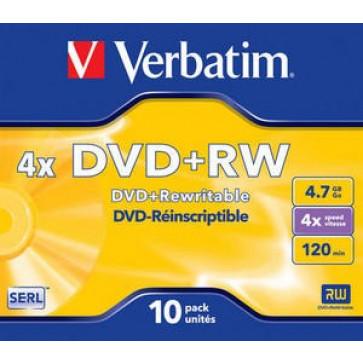 DVD+RW, 4.7GB, 4X, carcasa jewel, VERBATIM Matt Silver