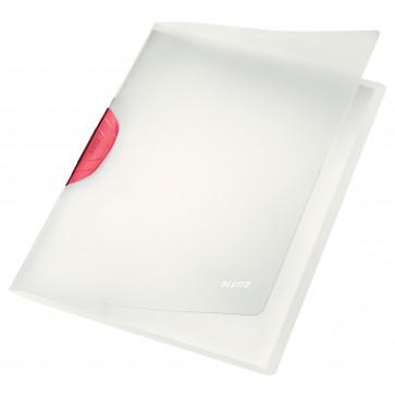 Dosar din plastic, cu clip, rosu, LEITZ Color Clip