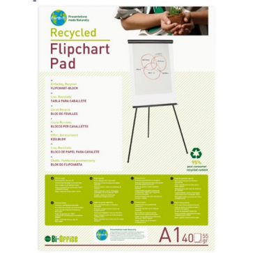 Hartie pt. flipchart, 70 x 100cm, velina, 50 coli/top, BI-OFFICE Earth-it