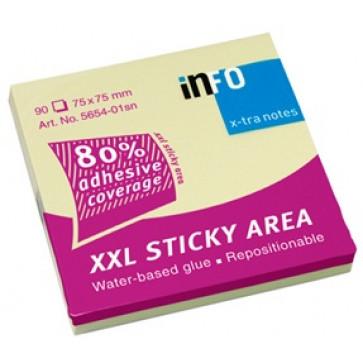 Notes autoadeziv, 75 x 75mm, 100 file/set, galben pastel, INFO NOTES X-tra