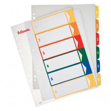 Separatoare din plastic cu index imprimabil, A4, 1-6, ESSELTE