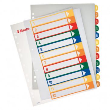 Separatoare din plastic cu index imprimabil, A4, 1-12, ESSELTE