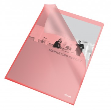 File din plastic, A4, rosu transparent, 105 mic., 25 buc/set, ESSELTE