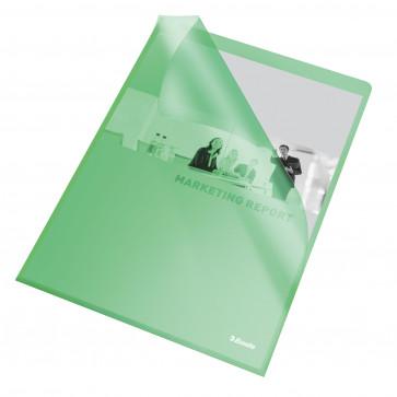 File din plastic, A4, verde transparent, 105 mic., 25 buc/set, ESSELTE