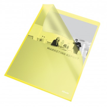 File din plastic, A4, galben transparent, 105 mic., 25 buc/set, ESSELTE