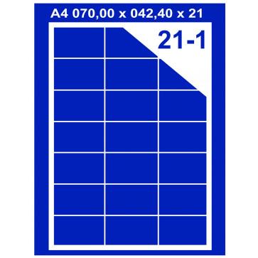 Etichete autoadezive albe, 21/A4, 70 x 42.4mm, 100coli/top, PLUSS
