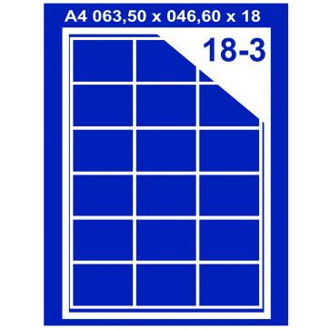 Etichete autoadezive albe, 18/A4, 63.5 x 46.6mm, 100coli.top, PLUSS