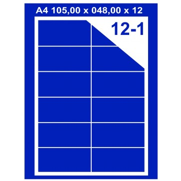 Etichete autoadezive albe, 12/A4, 105 x 48mm, 100coli/top, PLUSS