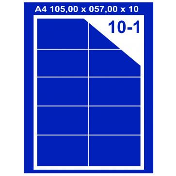 Etichete autoadezive albe, 10/A4, 105 x 57mm, 100coli/top, PLUSS