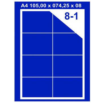 Etichete autoadezive albe, 8/A4, 105 x 74.25mm, 100coli/top, PLUSS
