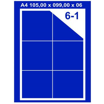 Etichete autoadezive albe, 6/A4, 105 x 99mm, 100coli/top, PLUSS