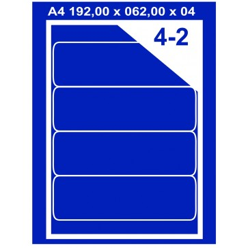 Etichete autoadezive albe, 4/A4, 192 x 62mm, 100coli/top, PLUSS