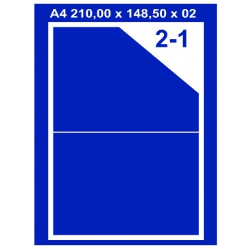 Etichete autoadezive albe, 2/A4, 210 x 148.5mm, 100coli/top, PLUSS