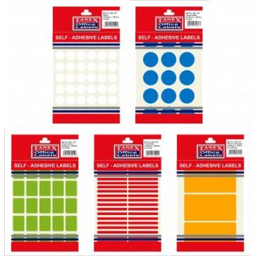 Etichete autoadezive color, 12/coala, diametru 32mm, rosu, 10 coli/blister, TANEX