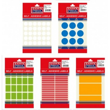 Etichete autoadezive color, 35/coala, diametru 19mm, rosu, 10 coli/blister, TANEX