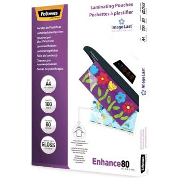 Folie laminare A4, 80 microni, 100 folii/cutie, FELLOWES Enhance80
