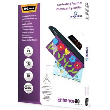Folie laminare A3, 80 microni, 100 folii/cut, FELLOWES Enhance80