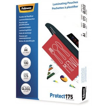 Folie laminare A4, 175 microni, 100 folii/cutie, FELLOWES Protect175