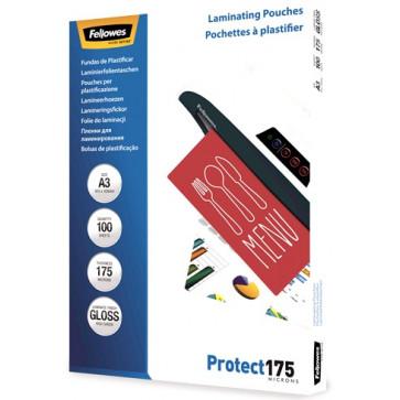 Folie laminare A3, 175 microni, 100 folii/cutie, FELLOWES Protect175