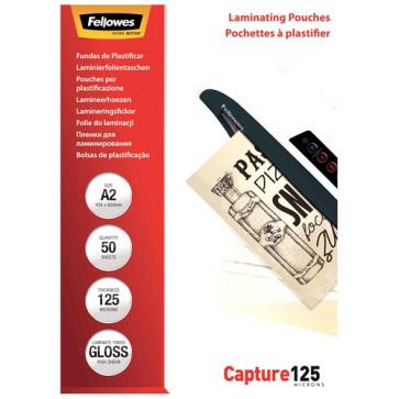Folie laminare A2, 125 microni, 50 folii, FELLOWES Capture125