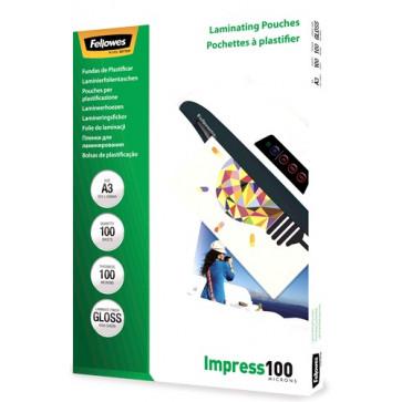 Folie laminare A3, 100 microni, 100 folii/cutie, FELLOWES Impress100