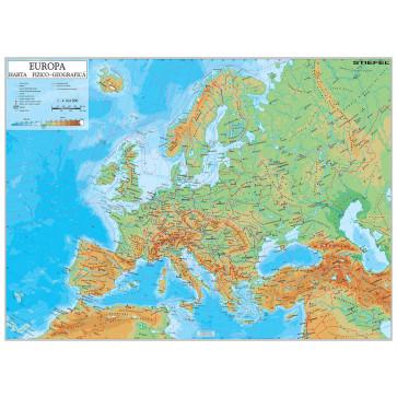Harta plastifiata, Europa fizico geografica, 160 x 120cm, baghete lemn, STIEFEL