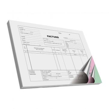 Facturier, neplatitor de TVA, A5, tipar fata, autocopiativ, 3ex., 50 set/carnet