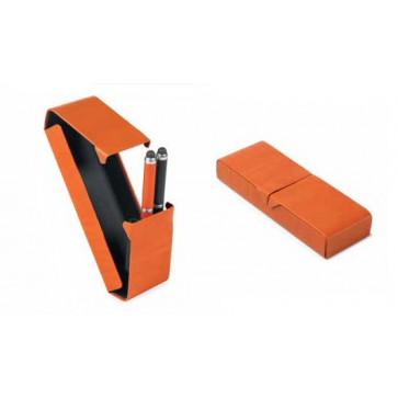 Etui pentru 3 instrumente de scris, din imitatie de piele, portocaliu, FEDON 1919 P-Penne-3-ORG