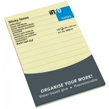 Notes autoadeziv liniat, 100 x 150mm, 100 file/set, galben, INFO NOTES