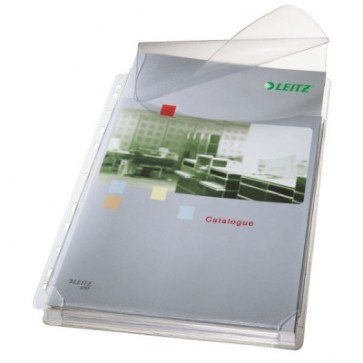 Fila din plastic, A4, transparent, cu clapa, 170 mic., 5 buc/set LEITZ Jumbo