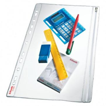 File din plastic, A4, fermoar, 200 mic., 5 buc/set, ESSELTE
