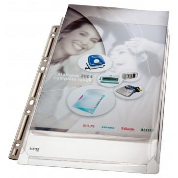 File din plastic, cu ranforsare metalica, A4, transparent, 3 bucset, LEITZ Jumbo Extra