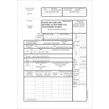 Foaie de parcurs autovehicule marfa, A4, tipar fata/verso, 100 file/carnet