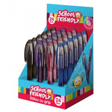 Stilou cu grip + 2 rezerve, 4 culori, PIGNA School Friendly
