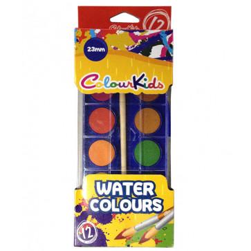 Acuarele semi-uscate, pensula, 23mm, 12 culori/set, PIGNA ColourKids
