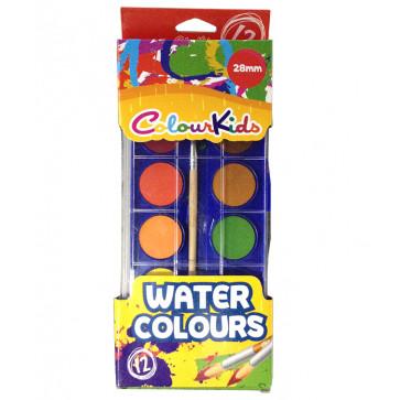 Acuarele semi-uscate, pensula, 27mm, 12 culori/set, PIGNA ColourKids